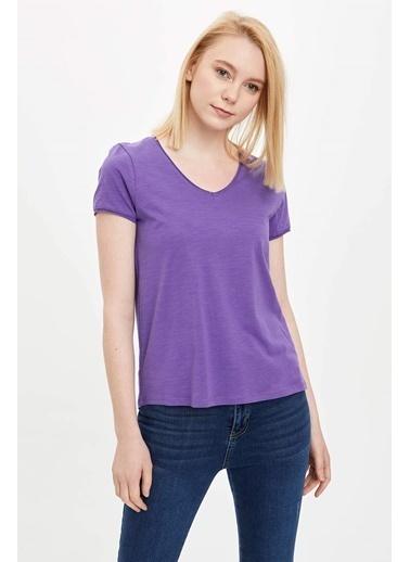 DeFacto V Yakalı Kısa Kollu T-Shirt Mor